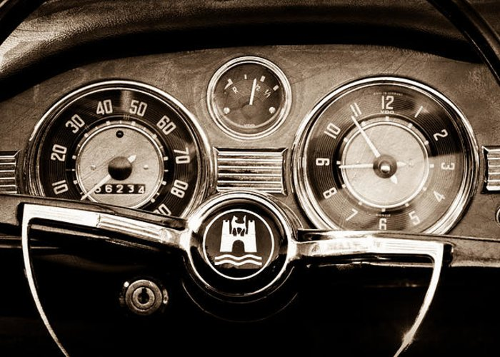 1966 Volkswagen Vw Karmann Ghia Steering Wheel Greeting Card featuring the photograph 1966 Volkswagen Vw Karmann Ghia Steering Wheel by Jill Reger