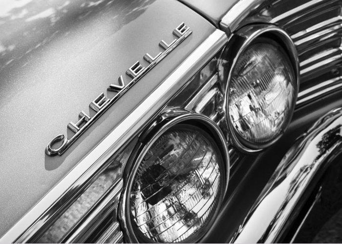 1967 Chevrolet Chevelle Malibu Head Light Emblem Greeting Card featuring the photograph 1967 Chevrolet Chevelle Malibu Head Light Emblem by Jill Reger