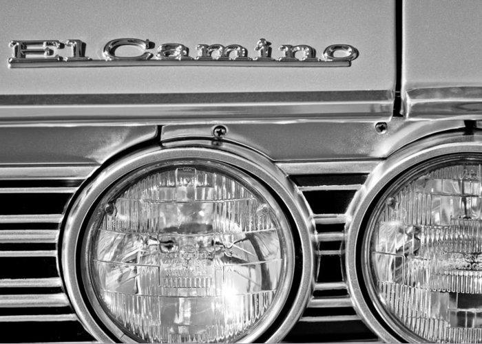 1967 Chevrolet El Camino Pickup Truck Headlight Emblem Greeting Card featuring the photograph 1967 Chevrolet El Camino Pickup Truck Headlight Emblem by Jill Reger