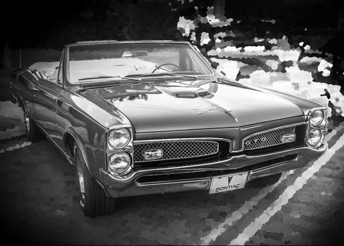 1967 Pontiac Gto Greeting Card featuring the photograph 1967 Pontiac Gto Bw by Rich Franco