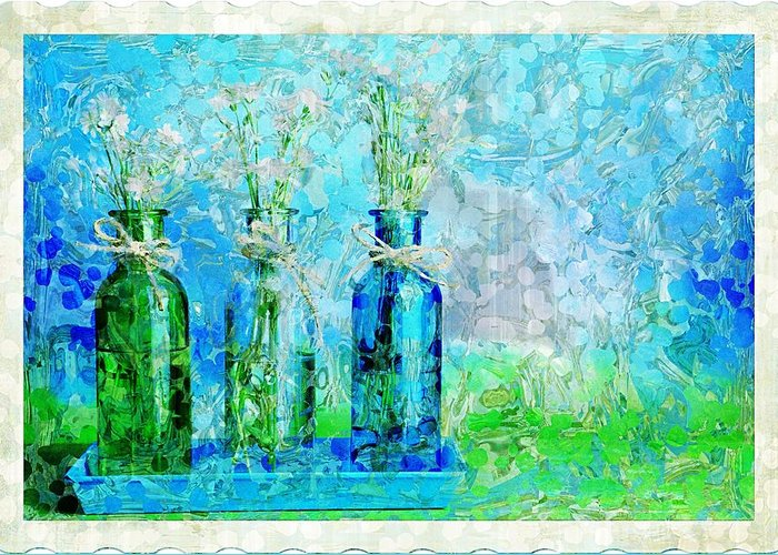 Bottles Greeting Card featuring the photograph 1-2-3 Bottles - S13ast by Variance Collections