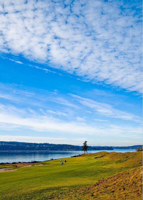Chambers Bay Golf Course Greeting Card featuring the photograph #2 At Chambers Bay Golf Course - Location Of The 2015 U.s. Open Tournament by David Patterson