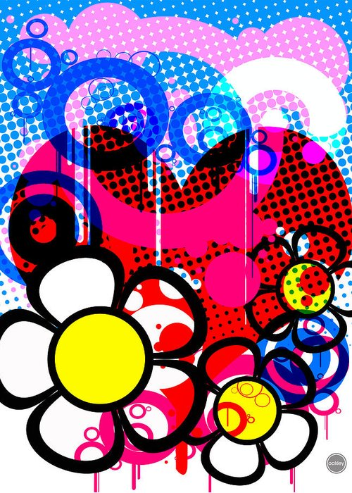 Pop Greeting Card featuring the digital art #3 by David Oakley