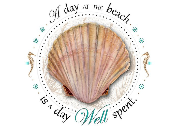 Seashell Greeting Card featuring the painting A Day At The Beach Is A Day Well Spent by Amy Kirkpatrick