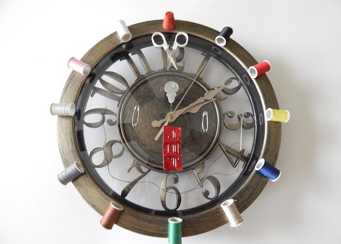 Clock Greeting Card featuring the photograph A Stitch N Time by Terry Baker