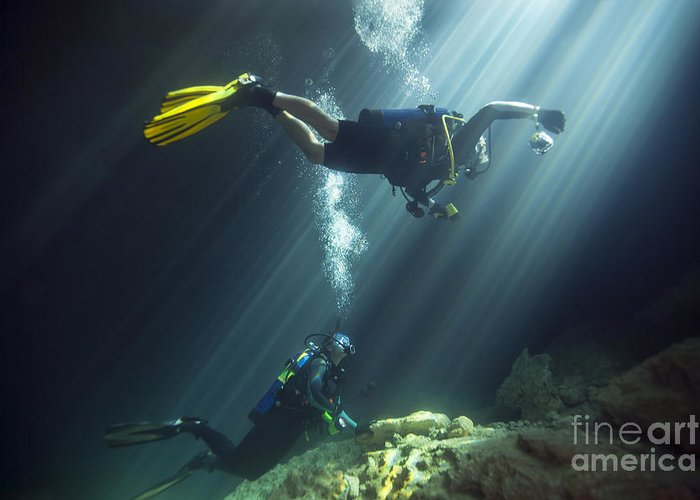People Greeting Card featuring the photograph A Young Married Couple Scuba Diving by Michael Wood