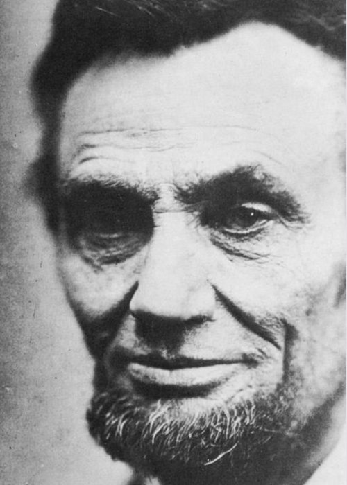 1809-1865 Greeting Card featuring the photograph Abraham Lincoln by Anonymous