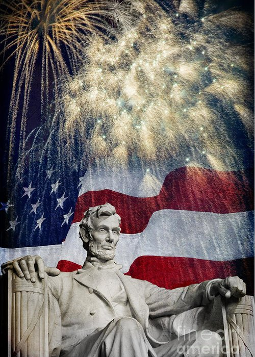 Lincoln Greeting Card featuring the photograph Abraham Lincoln Fireworks by Michael Shake