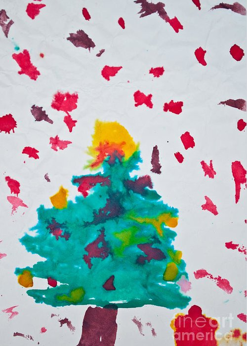 Art Greeting Card featuring the photograph Abstract Kid's Painting Of Christmas Tree With Gifts by Aleksandar Mijatovic