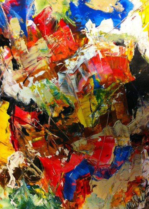 Color Greeting Card featuring the painting Abstract by Matthew Orlando