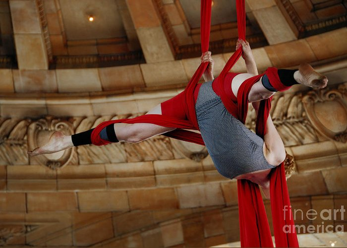 50 States In 50 Days Greeting Card featuring the photograph Aerial Ribbon Performer At Pennsylvanian Grand Rotunda by Amy Cicconi