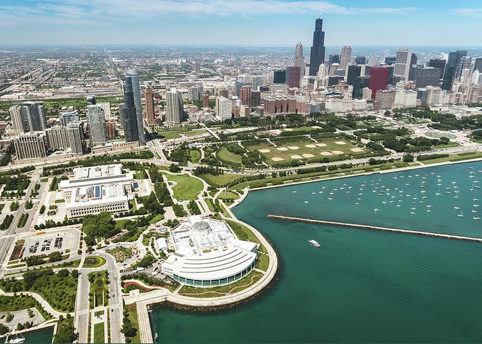 Downtown District Greeting Card featuring the photograph Aerial View Of The Downtown In Chicago by Franckreporter