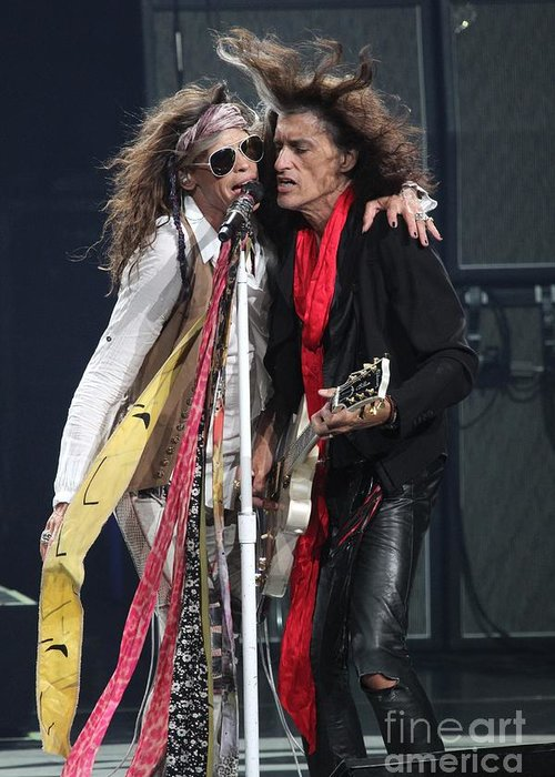 Joe Perry Greeting Card featuring the photograph Aerosmith by Concert Photos