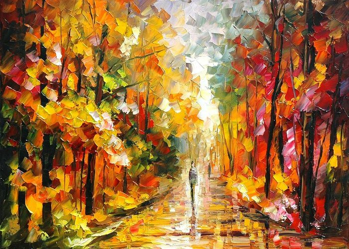 Afremov Painting Palette Knife Art Handmade Surreal Abstract Oil Landscape Original Realism Unique Special Life Color Beauty Admiring Light Reflection Piece Renown Authenticity Smooth Certificate Colorful Beauty Perspective Golden Treasure After Rain Greeting Card featuring the painting After The Rain by Leonid Afremov