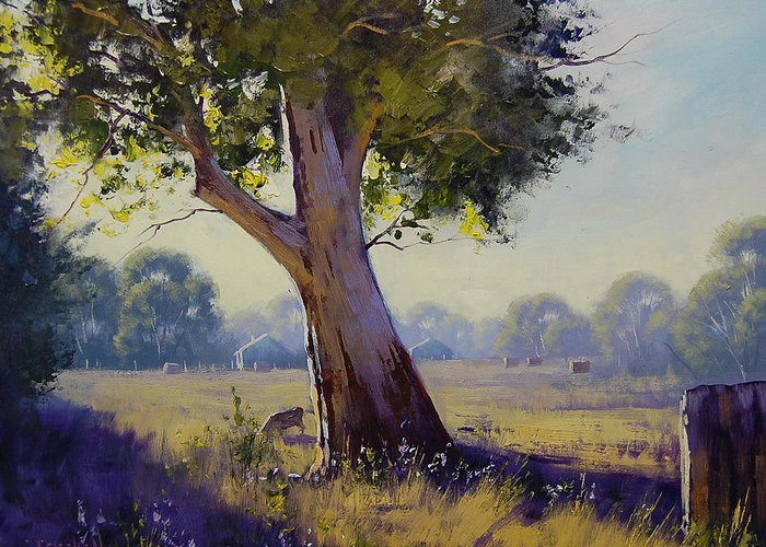 Farm Greeting Card featuring the painting Afternoon Light Grazing by Graham Gercken