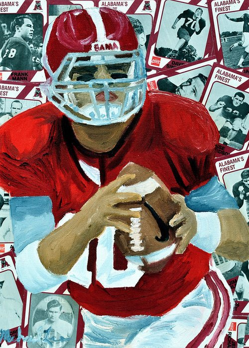 Alabama Greeting Card featuring the painting Alabama Quarter Back #10 by Michael Lee