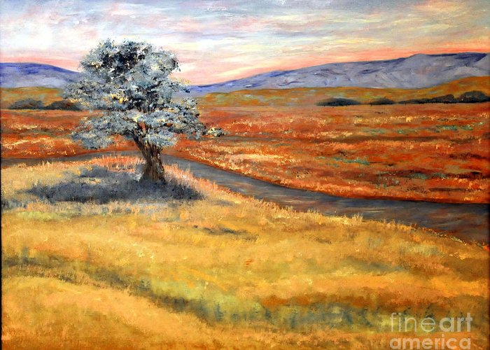 Landscape Greeting Card featuring the painting Algadonez Nm by Barney Napolske