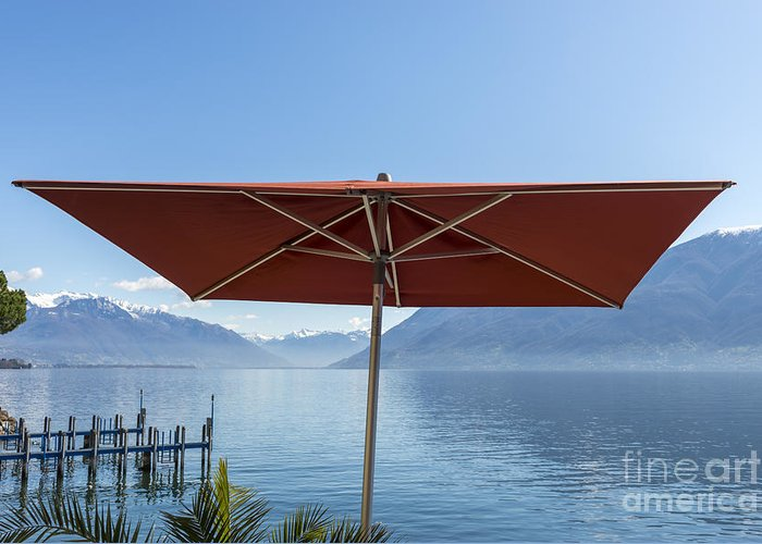 Parasol Greeting Card featuring the photograph Alpine Lake With Parasol by Mats Silvan
