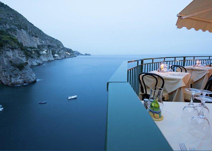 Tyrrhenian Sea Greeting Card featuring the photograph Amalfi Coast In Campania, Italy by Davidcallan