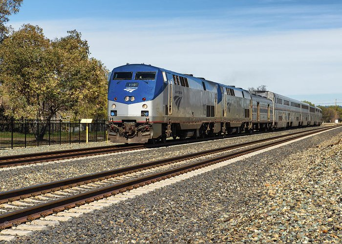 Rocklin Greeting Card featuring the photograph Amtrak 119 by Jim Thompson