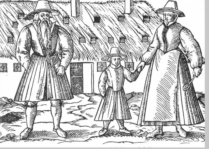 16th Century Greeting Card featuring the painting Anabaptist Family by Granger