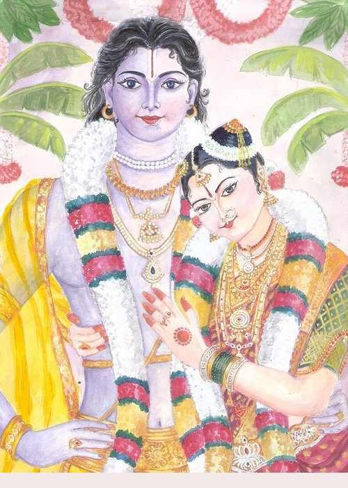Andal Krishna Marriage. Andal Is Said To Be An Incarnation Of Bhumi Devi Greeting Card featuring the painting Andal Krishna by Parimala Devi Namasivayam