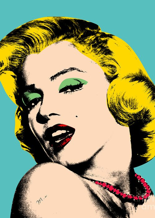 Pop Art Greeting Card featuring the digital art Andy Warhol by Mark Ashkenazi