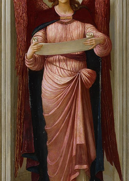 Alcove Greeting Card featuring the painting Angels by John Melhuish Strudwick