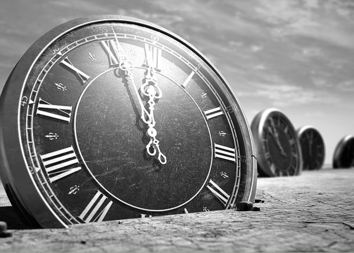 Clock Greeting Card featuring the digital art Antique Clocks In The Desert Sand by Allan Swart