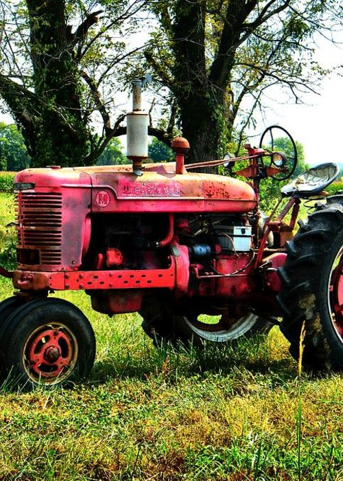 Antique Greeting Card featuring the photograph Antique Tractor by Julie Dant