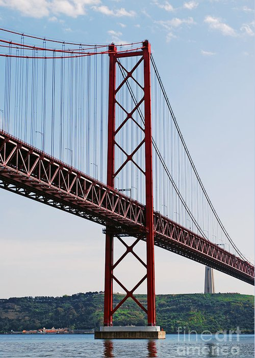 Bridge Greeting Card featuring the photograph April Bridge In Lisbon by Luis Alvarenga