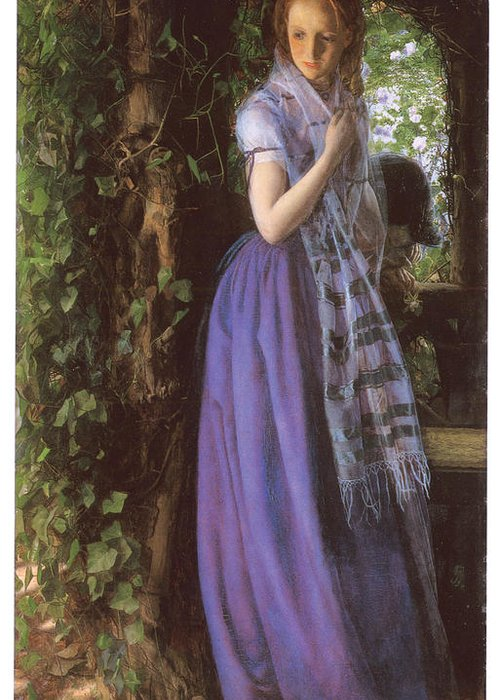 Arthur Hughes Greeting Card featuring the painting April Love by Arthur Hughes