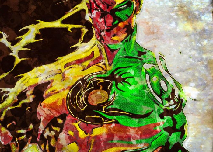 Green Lantern Greeting Card featuring the painting Archenemy Lanterns by Jared Johnson