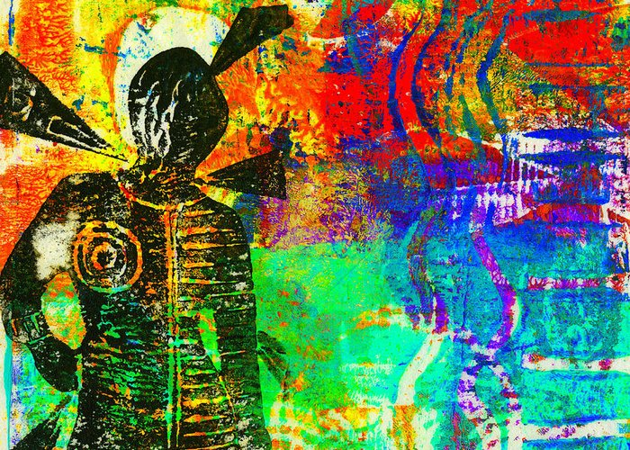 Printing Greeting Card featuring the mixed media At The Carnival by Angela L Walker