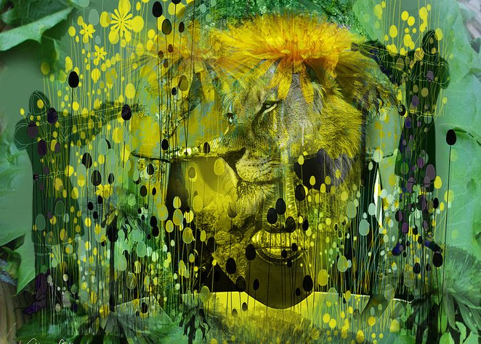 Dandelion Greeting Card featuring the digital art Attacking The Dande-lion by Sabine Stetson