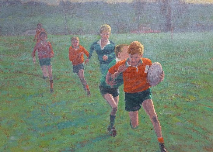 Sport Greeting Card featuring the painting Auckland Rugby by Terry Perham
