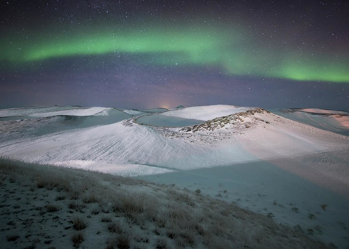 Scenics Greeting Card featuring the photograph Aurora, Myvatn, Iceland by David Clapp