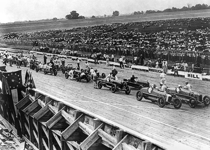 1922 Greeting Card featuring the photograph Auto Race, C1922 by Granger