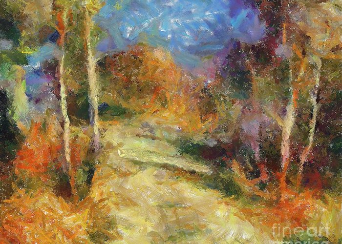 Landscapes Greeting Card featuring the painting Autumn Colors by Dragica Micki Fortuna