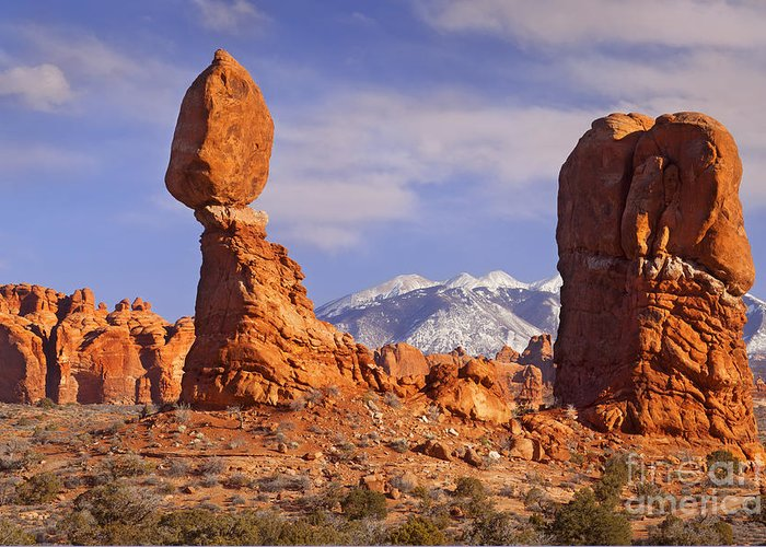 America Greeting Card featuring the photograph Balanced Rock by Brian Jannsen