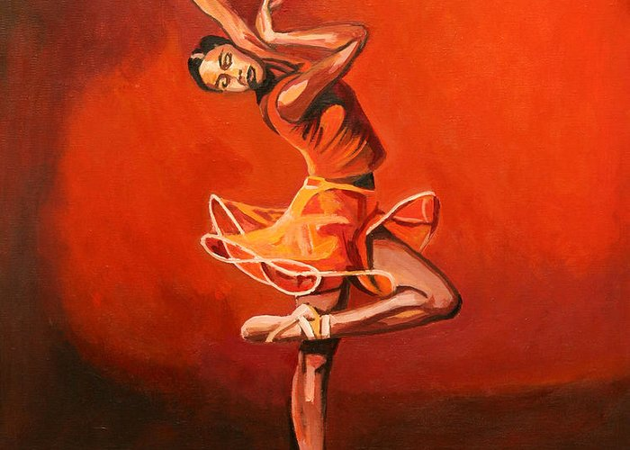 Ballet Dancer Greeting Card featuring the painting Ballet Lady by Patrick Hunt