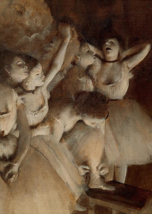 Painting Greeting Card featuring the painting Ballet Rehearsal On Stage by Edgar Degas
