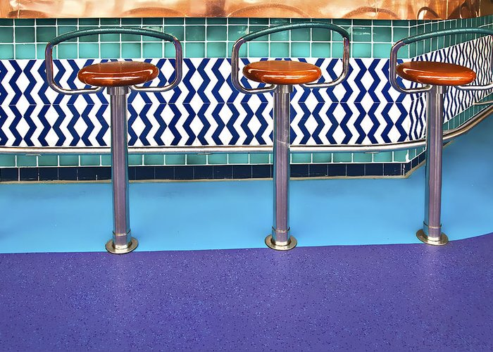 Architecture Greeting Card featuring the photograph Bar Stools by Maria Coulson