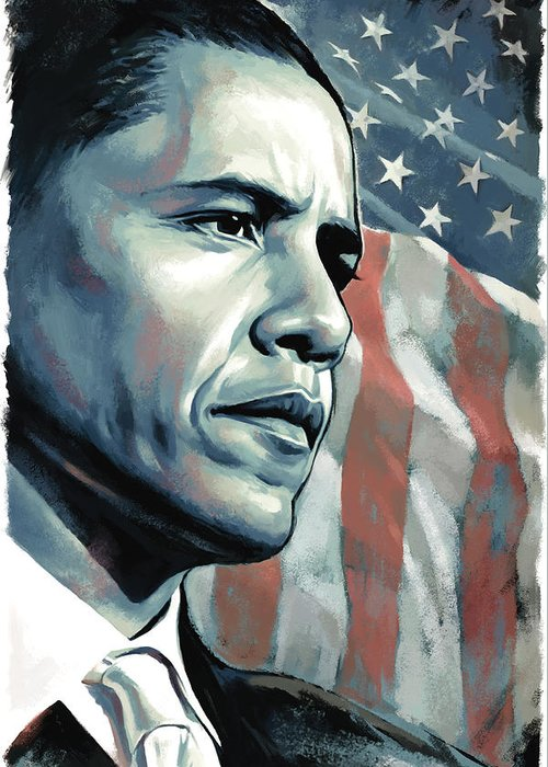 Barack Obama Paintings Greeting Card featuring the painting Barack Obama Artwork 2 by Sheraz A