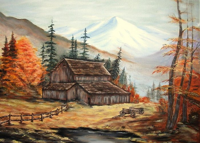 Landscape Greeting Card featuring the painting Barn and wagon by Kenneth LePoidevin