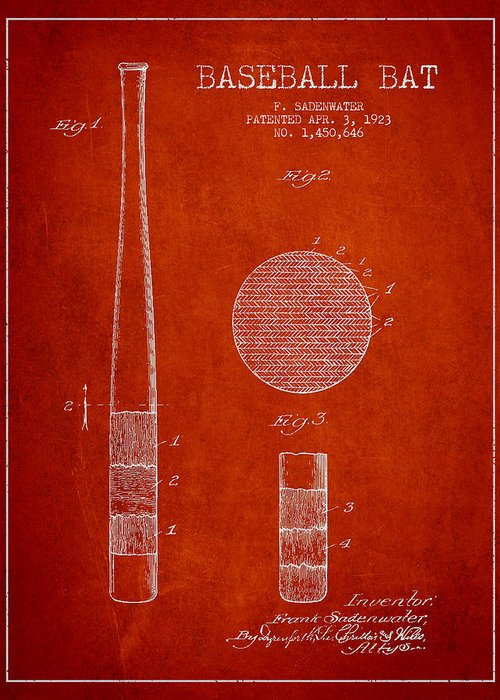 Baseball Bat Greeting Card featuring the digital art Baseball Bat Patent Drawing From 1923 by Aged Pixel