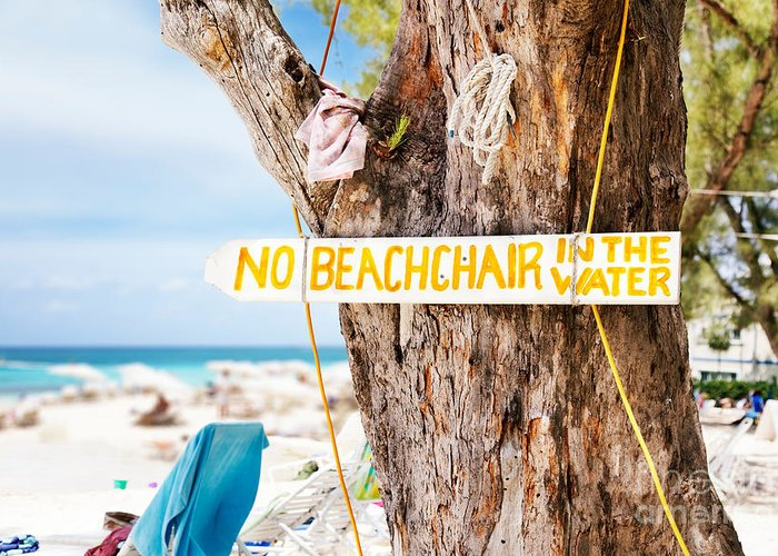 Sign Greeting Card featuring the photograph Beach At Rum Point by Jo Ann Snover