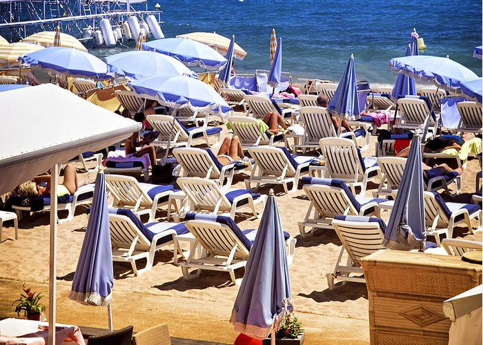 Beach Greeting Card featuring the photograph Beach In Cannes by Elena Elisseeva