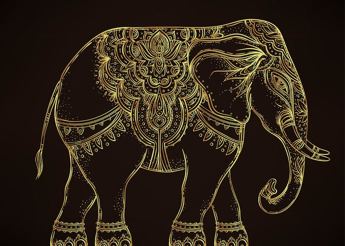 Symbol Greeting Card featuring the digital art Beautiful Hand-drawn Tribal Style by Gorbash Varvara
