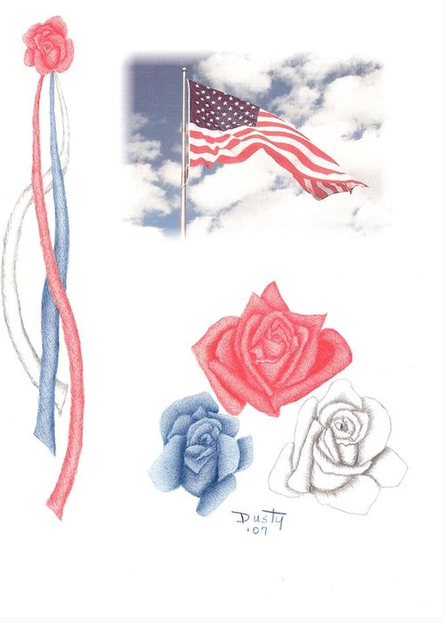 Rose Greeting Card featuring the drawing Beauty Of Freedom by Dusty Reed